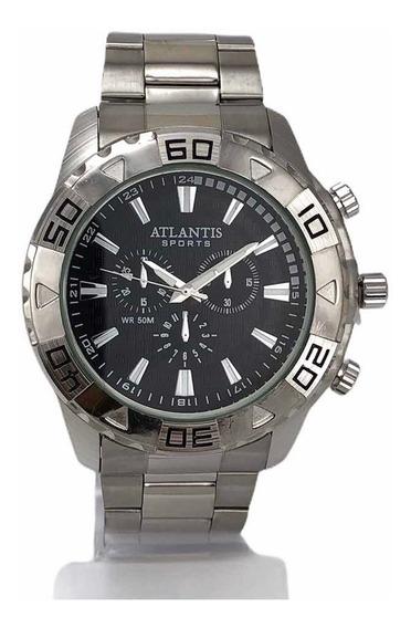 Relógio Atlantis Sport Original Masculino Quartz Prata