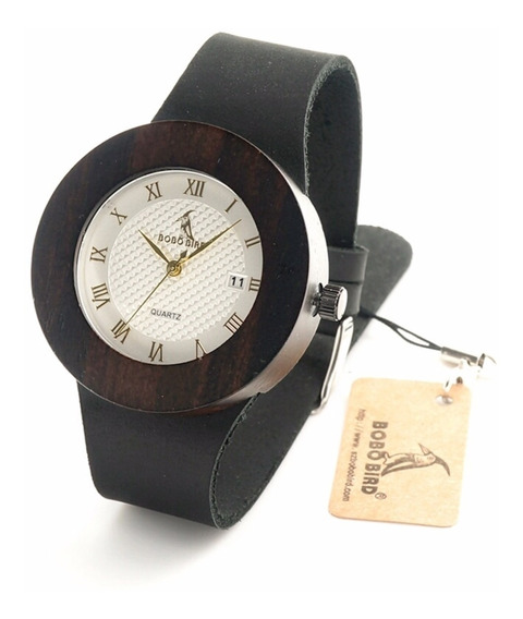 Reloj Bobo Bird Original Madera De Caoba Y Calendario Bambú