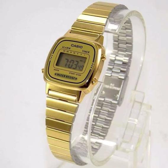 La670 Relógio Casio Dourado Feminino Mini La670wga-9df