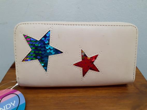 Billetera Trendy Grande Doble Cierre Estrella Lentejuelas