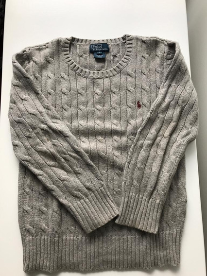 Sweaters Polo Ralph Lauren Niños Talle 7/8 Gris Poco Uso
