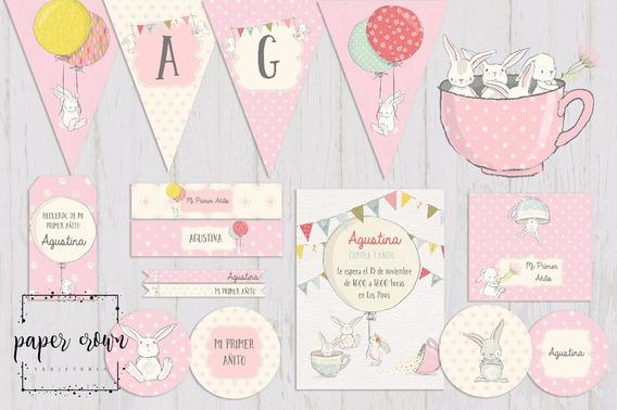 Kit Imprimible Conejito Rosa Cumpleaños Bautismos