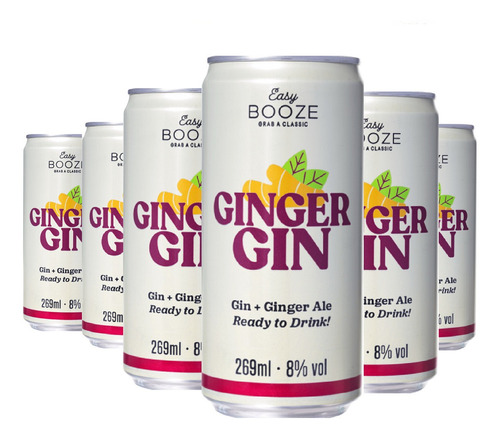 Imagem 1 de 1 de Easy Booze Lata Gin+ginger 269ml (6 Unidades)