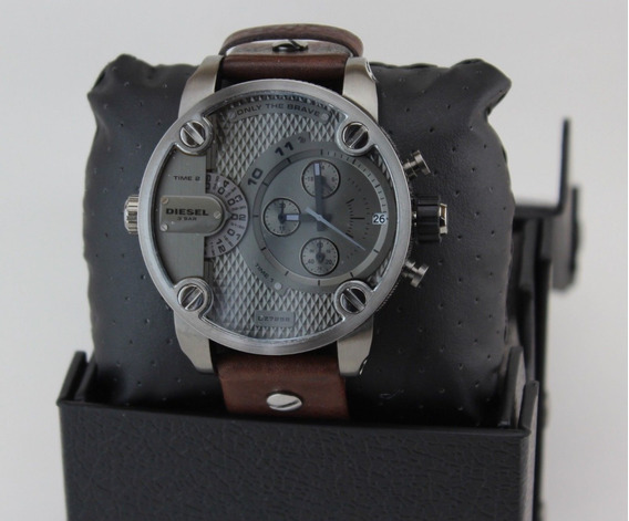 Relógio Diesel Dz7258 Little Daddy Gunmetal Brown Leather