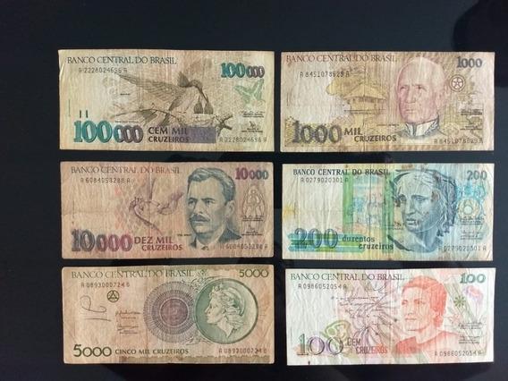 6 Cédulas Antigas Cruzeiro Antiga Nacional / Tem De 100.000