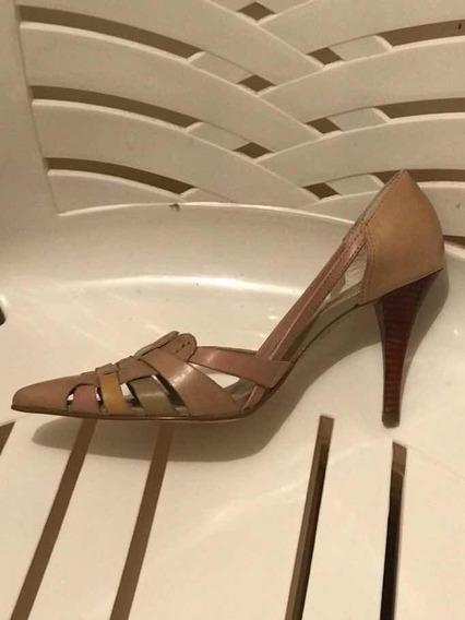 Zapatos Vía Uno Cuero Color Nude N*37 Nuevos