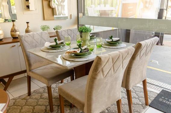 Mesa De Jantar Barem 1.20 X 0.90 Com 4 Cadeiras Em Madeira