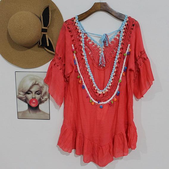 Vestido Praia Blogueira Canga Bata Verão Blusa Croche R 2804