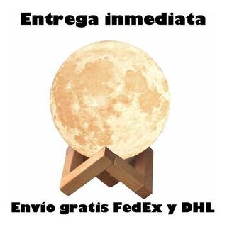 Hermosa Lámpara Luna 3d Replica Lunar Recargable Base Madera