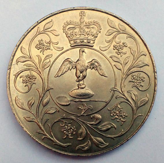 Moneda De Gran Bretaña, 25 New Pence 1977. Tamaño Corona.