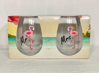 Copa Vaso De Vino Sin Tallo Mr. Y Mrs El Y Ella Flamencos 591 Ml