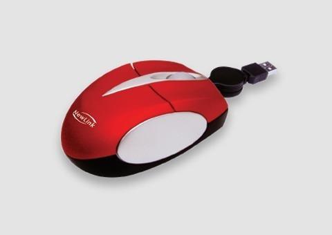 Mini Mouse Retratil Soft Vermelho 1000dpi Acabamento Embor