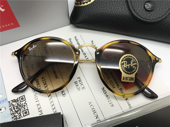 Oculos De Sol Ray Ban Round Fleck Rb2447 Marrom Tartaruga