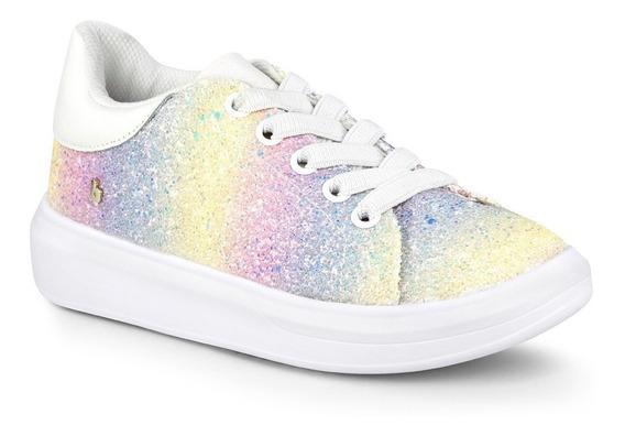 Tênis Infantil Bibi Feminino Glam De Glitter Arco-íris
