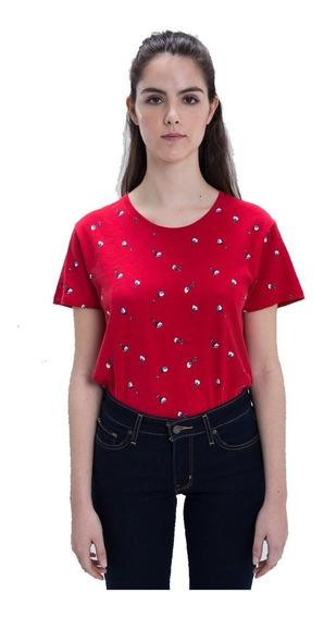Remera Mujer Perfect Tee Full Floral Roja Fit Estándar