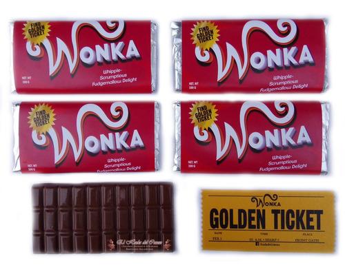 Imagen 1 de 5 de Chocolate Wonka Souvenir Regalo // Con Ticket Gold 1 Faz