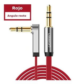 Cable Auxiliar Plano En L 3.5mm Macho A Macho Rojo 50cm 3pol