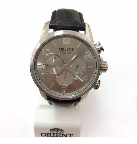Relógio Orient Cronógrafo Com Pulseira De Couro Mbscc