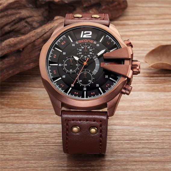 Relógio Masculino Skone 9430 Original Executivo Couro Marrom