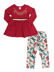 Conjunto De Frio Feminino Infantil Blusa E Leg Tam 1, 2 E 3