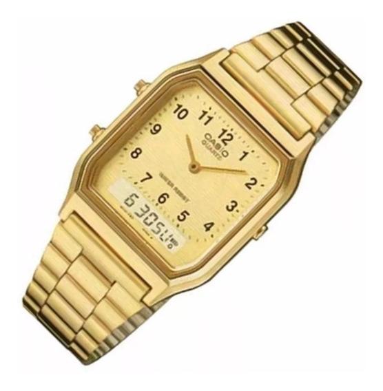 Relógio Masculino Anadigi Casio Aq-230ga9dmq Dourado Orig.