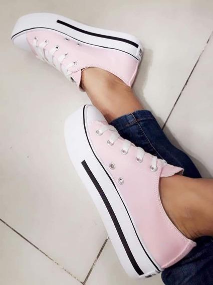 Zapatillas Mujer Plataforma Tipo Converse
