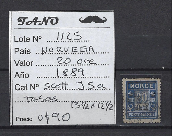 Lote1125 Noruega 20 Ore 1889 Sct# J5a Taxe Dent.13 1/2x12 1/