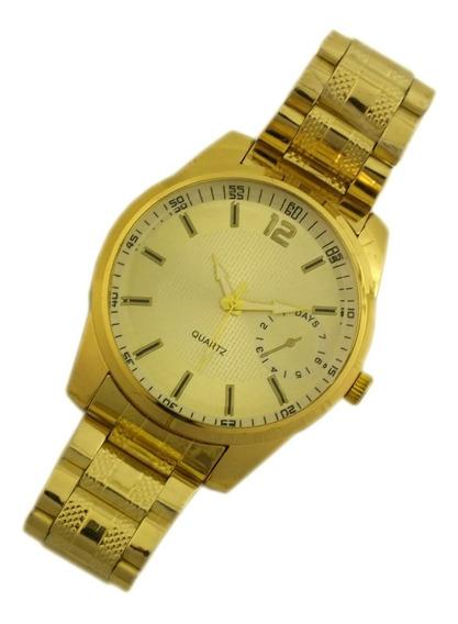 Relógio De Pulso Masculino Dourado Analógico Com Data B5676