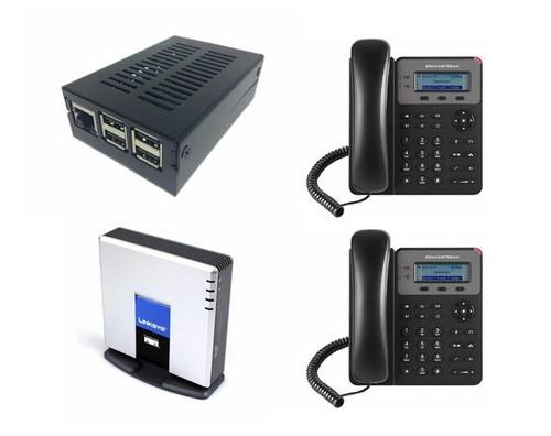 Pacote Pabx Ip Rasp- 1 Fxo + 2 Telefones Ip