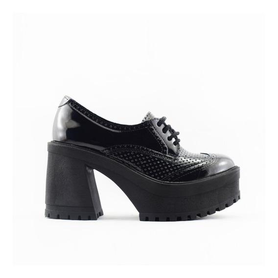 Botas Mujer Zapato Clasico Acordonado Charol Moda Botineta