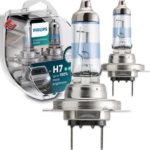 Imagem 1 de 5 de Kit Nova Lâmpada Philips X-treme Vision Pro H7 150% + Luz