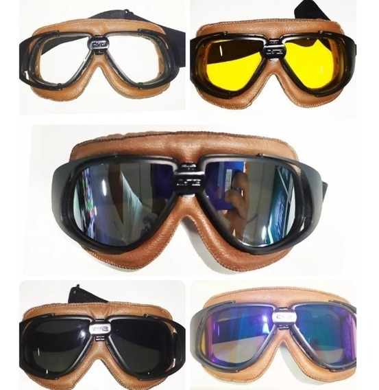 Gafas Clásicas Para Casco Moto Piloto Vintage