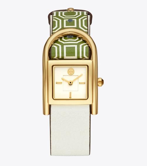 Tory Burch Thayer Piel Blanco Y Verde. Reloj Mujer***91688**
