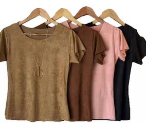 Blusa Suede Feminina Blusinha T Shirt Moda Inverno Veludo