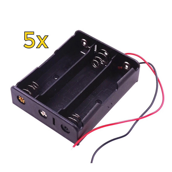 5x Case Suporte Para Bateria 18650 Para 3 Baterias