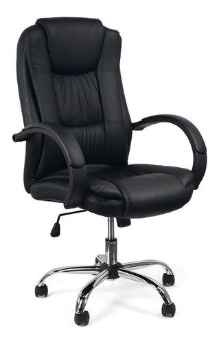 Cadeira de escritório Fortt Presidente Giratória Poltrona ergonômica  preta con estofado do couro sintético
