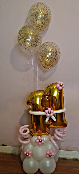 Arreglo O Bouquet De Globos Forma De Numero Mod 008
