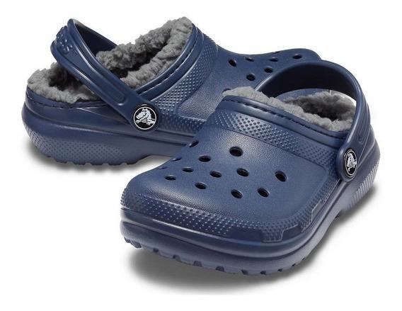 Crocs Kids Original Com Forro Classic Azul/cinza