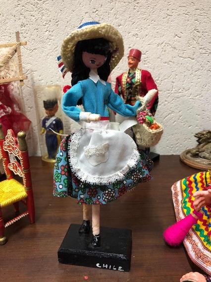 Boneca Antiga Souvenir Chilena Papel Marchet Pano Cod #1414