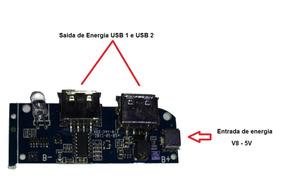 Placa Arduino Saida Duplo Usb Entrada De Energia V8