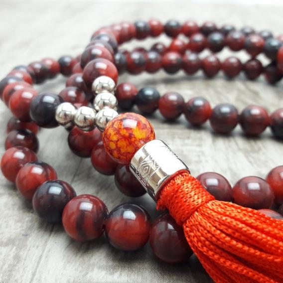 Colar Japamala Budismo Ho´oponopono 108 Contas Verm. Bordô