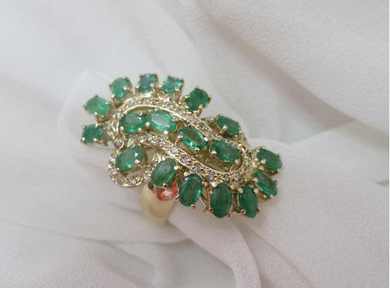 Fabuloso Anel Onda Esmeraldas , Diamantes Em Ouro Amarelo