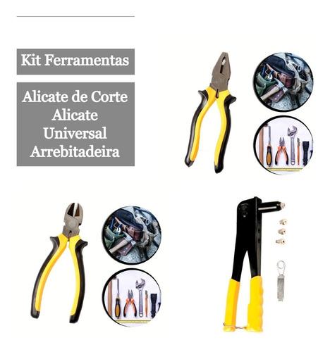 Kit 3 Ferramentas Corte E Rebitadeira Alicate Universal