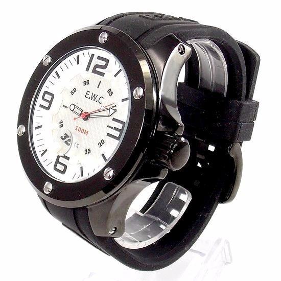 Relogio Masculino Grande 61mm E.w.c Emt11321-b Black Ip