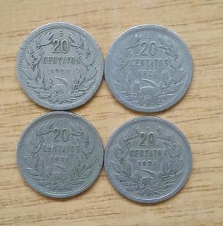 14 Monedas Chilena De 20 Centavos Años 1920-1941