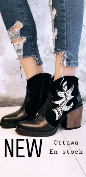 Botas Mujer Zapatos Texanas Dama Tachas Botitas Reptil Otawa