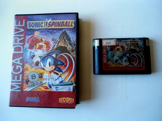 Cartucho Sonic Spinball Para Mega Drive! Capa E Estojo!