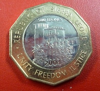 Sierra Leona Moneda Bimetalica 500 Leones 2004