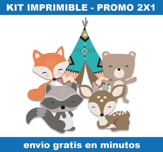 Kit Imprimible Animales Bosque Encantado Promo 2x1