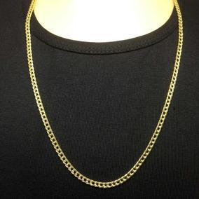 Cordão Masculina Folheada Ouro 18k Grumet Dupla 5mm 70cm